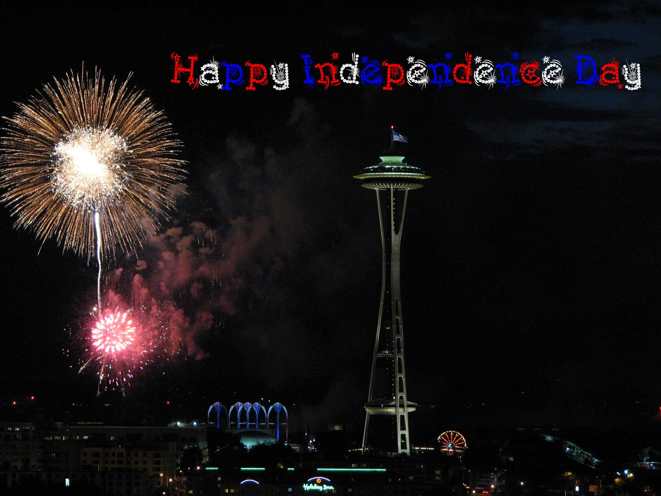 July 4, Independence Day, Seattle skyline, Seattle Space Needle, fireworks