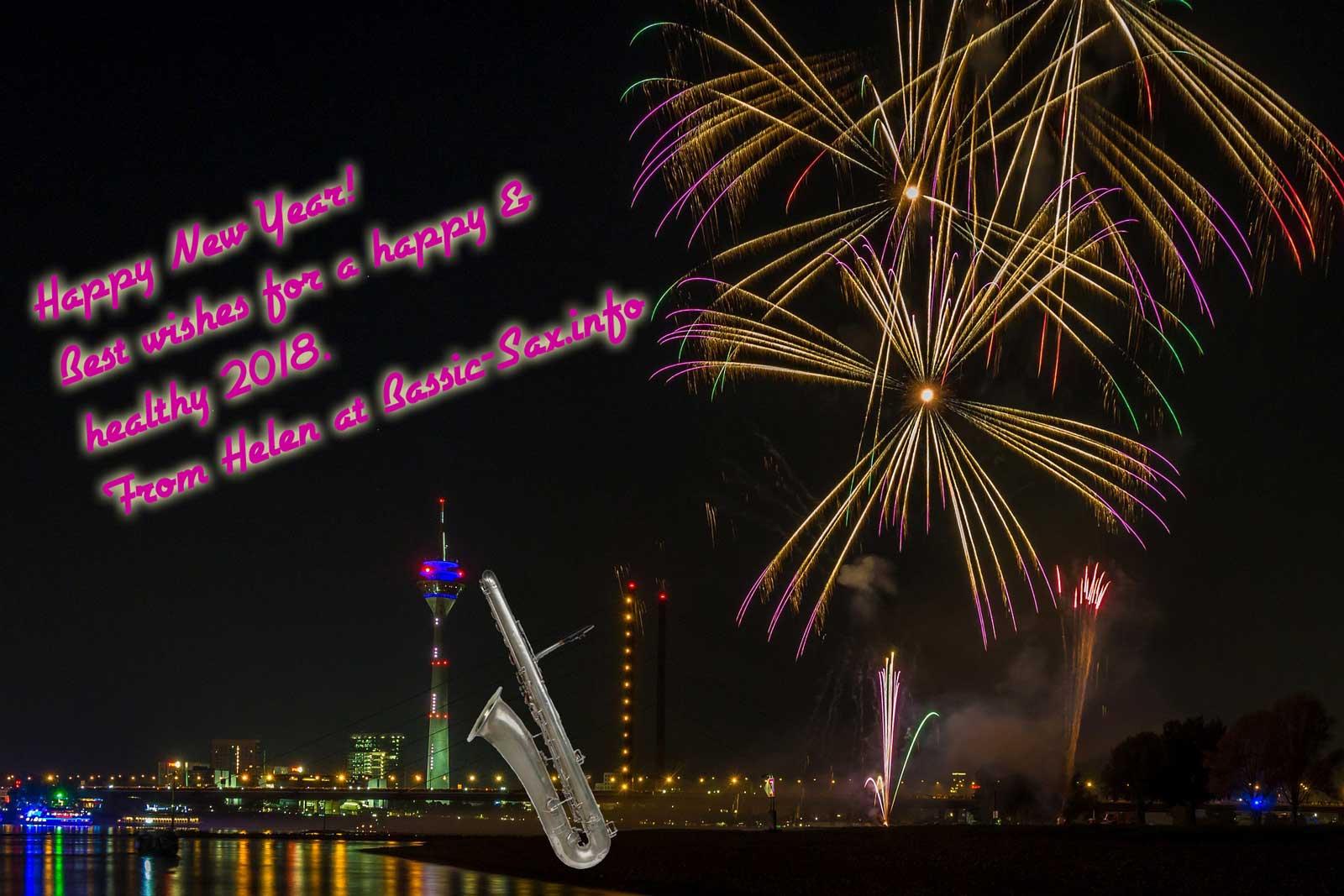 New Year 2018, fireworks, bass sax, bassic-sax.info