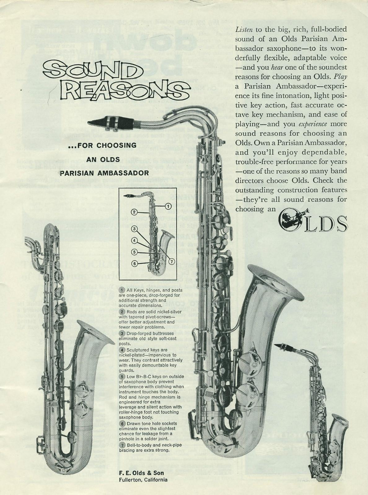 vintage ad, saxophone, Pierret, Parisian Ambassador, Olds, stencil sax