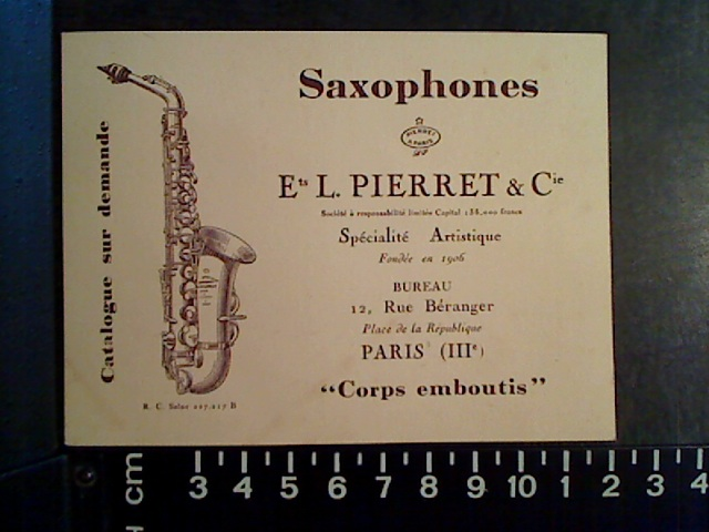 Pierret, business card, Pierret Company, Paris, France
