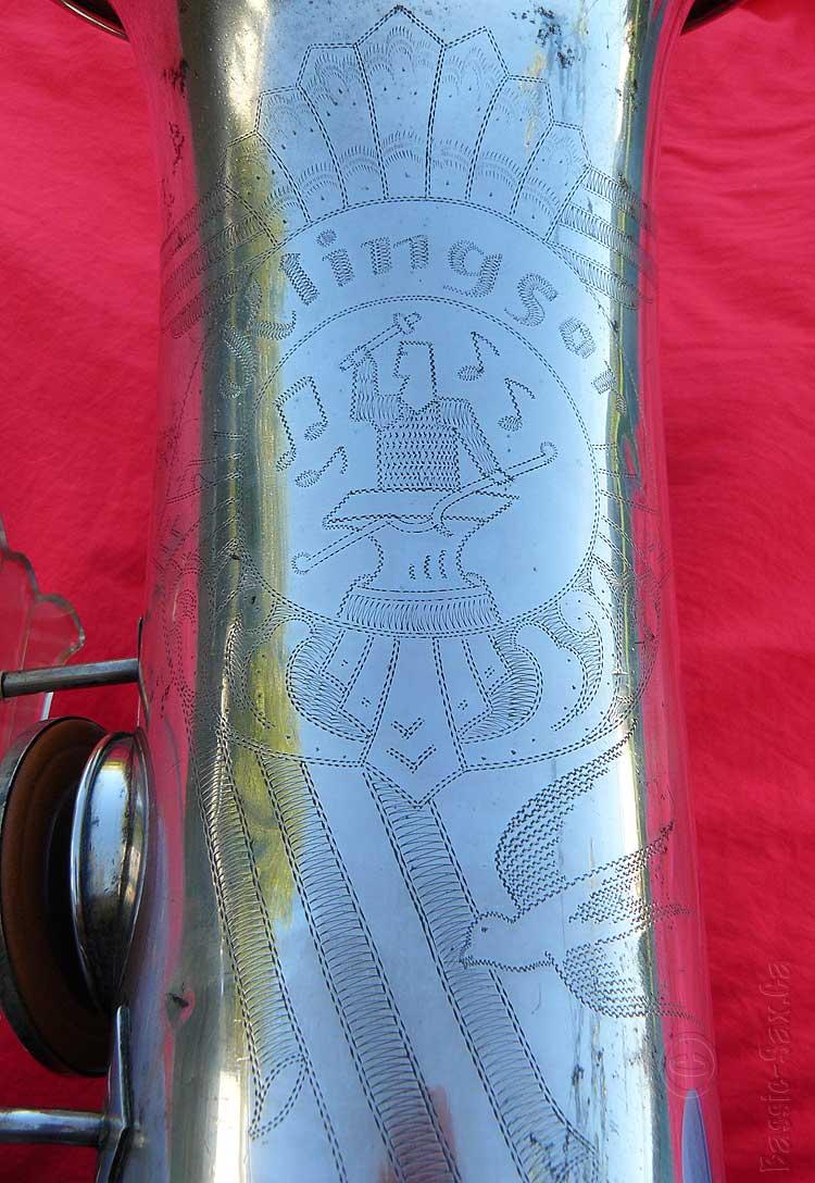 bell engraving, saxophone bell, Klingsor, blacksmith, Hammerschmidt