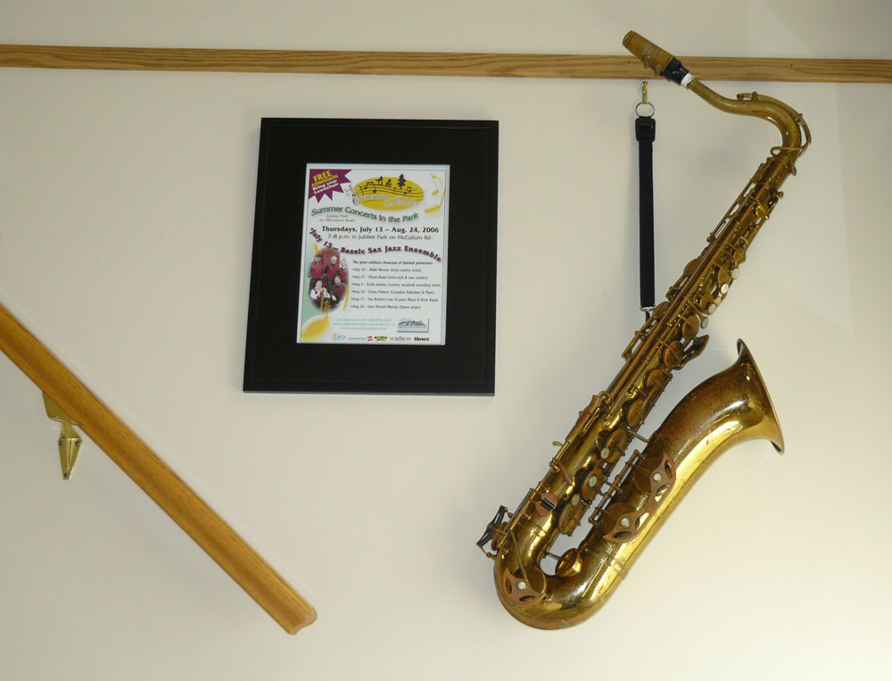 tenor saxophone, framed poster, wall art, hand rail,