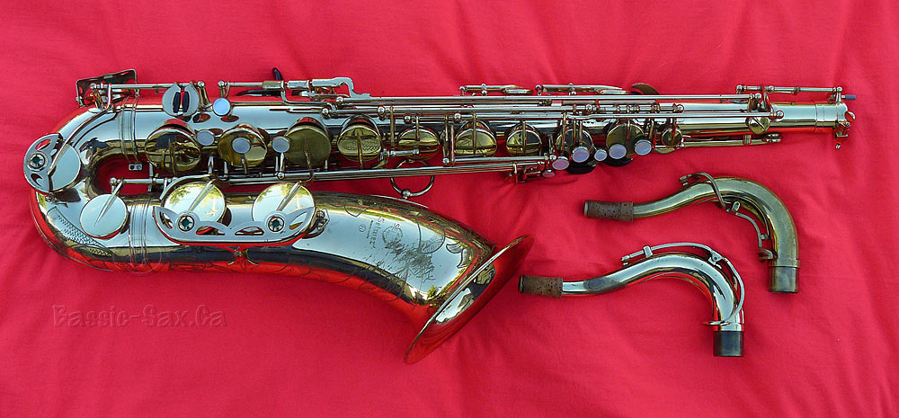 Selmer tenor saxophone, tenor sax, sax necks, red cloth, gold lacquer sax