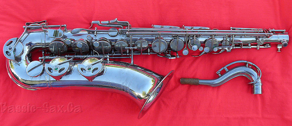 Hammerschmidt, Klingsor, tenor saxophone, nickel plated, tenor sax, sax neck, red cloth