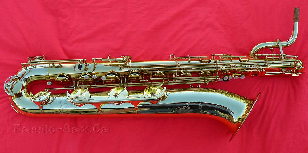 baritone saxophone, B&S Medusa, gold lacquer sax, red cloth