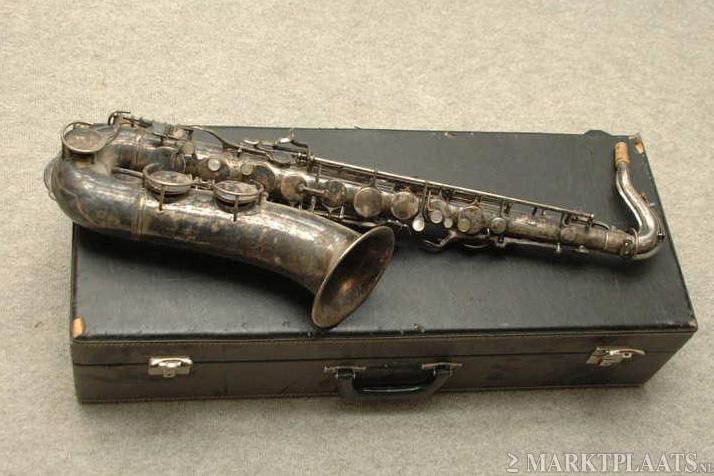 tenor saxophone, sax case, silver plated, tarnished, Hammerschmidt, Klingsor