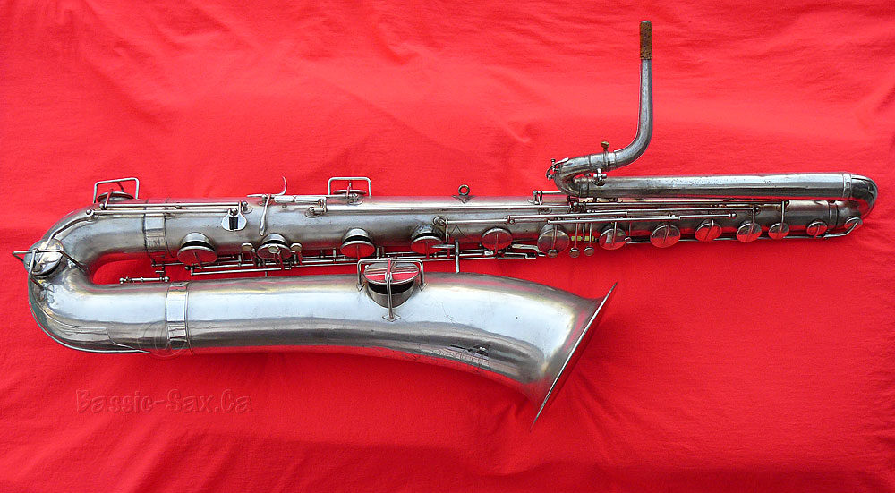 bass saxophone, Buescher, vintage, silver plated, red cloth