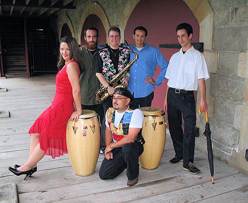 Latin band, Cesar Morales Sarbor Latino, band members, congas, saxophone player, male musicians, female musicians