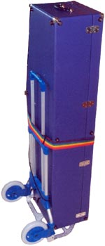 custom bass sax case, purple vinyl covering, upright, strapped to hand cart,