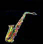 alto saxophone, thumbnail image, multi-coloured sax, black background