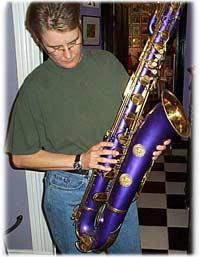 Helen Kahlke, purple baritone saxophone, Martin bari sax