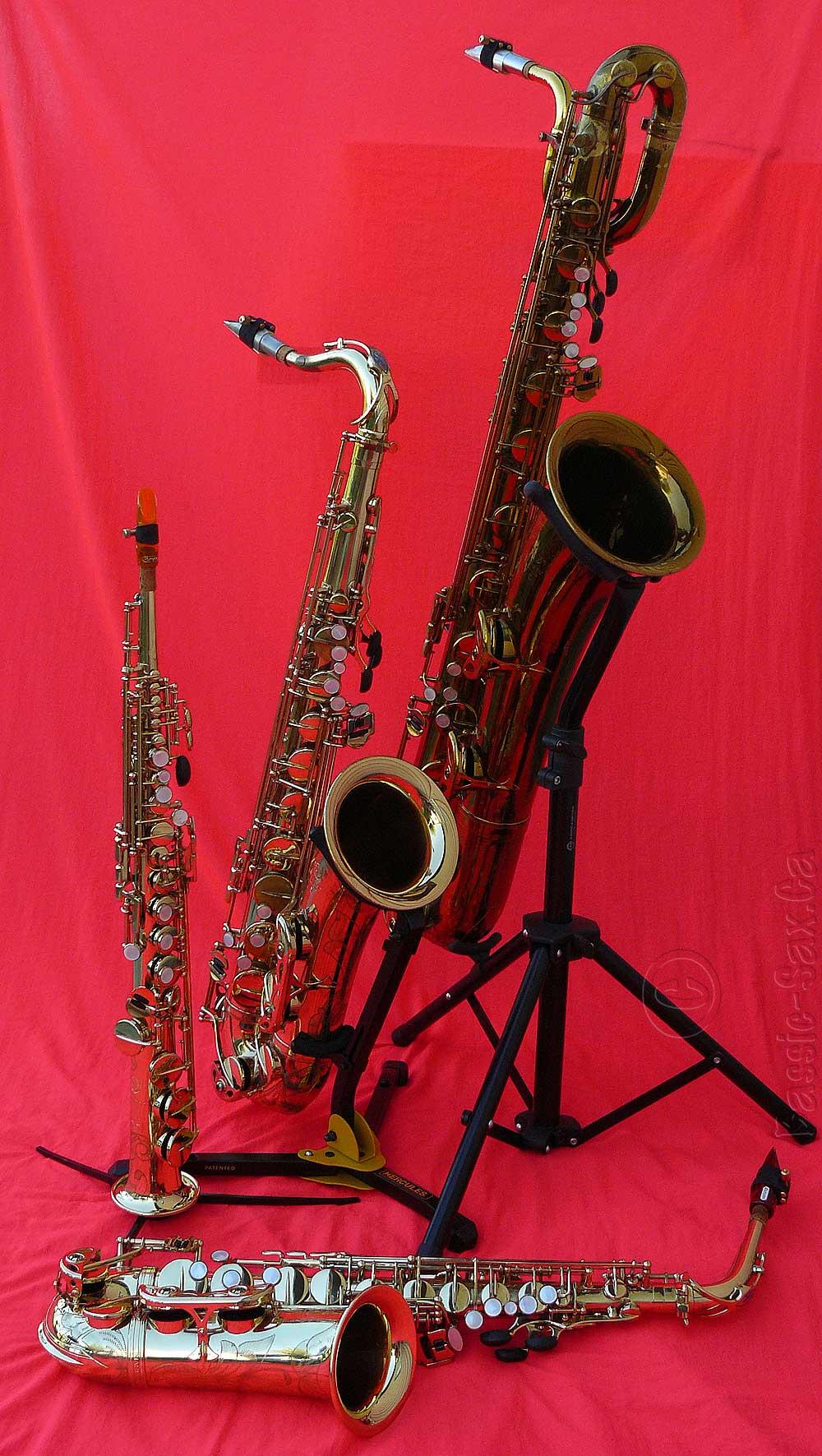 saxophones, soprano, alto, tenor, baritone, Mark VI, Selmer, French, gold lacquer, red cloth background