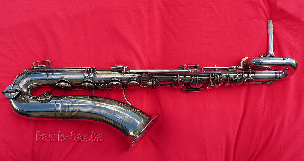 antique baritone sax, silver plated, red cloth, Evette & Schaeffer,