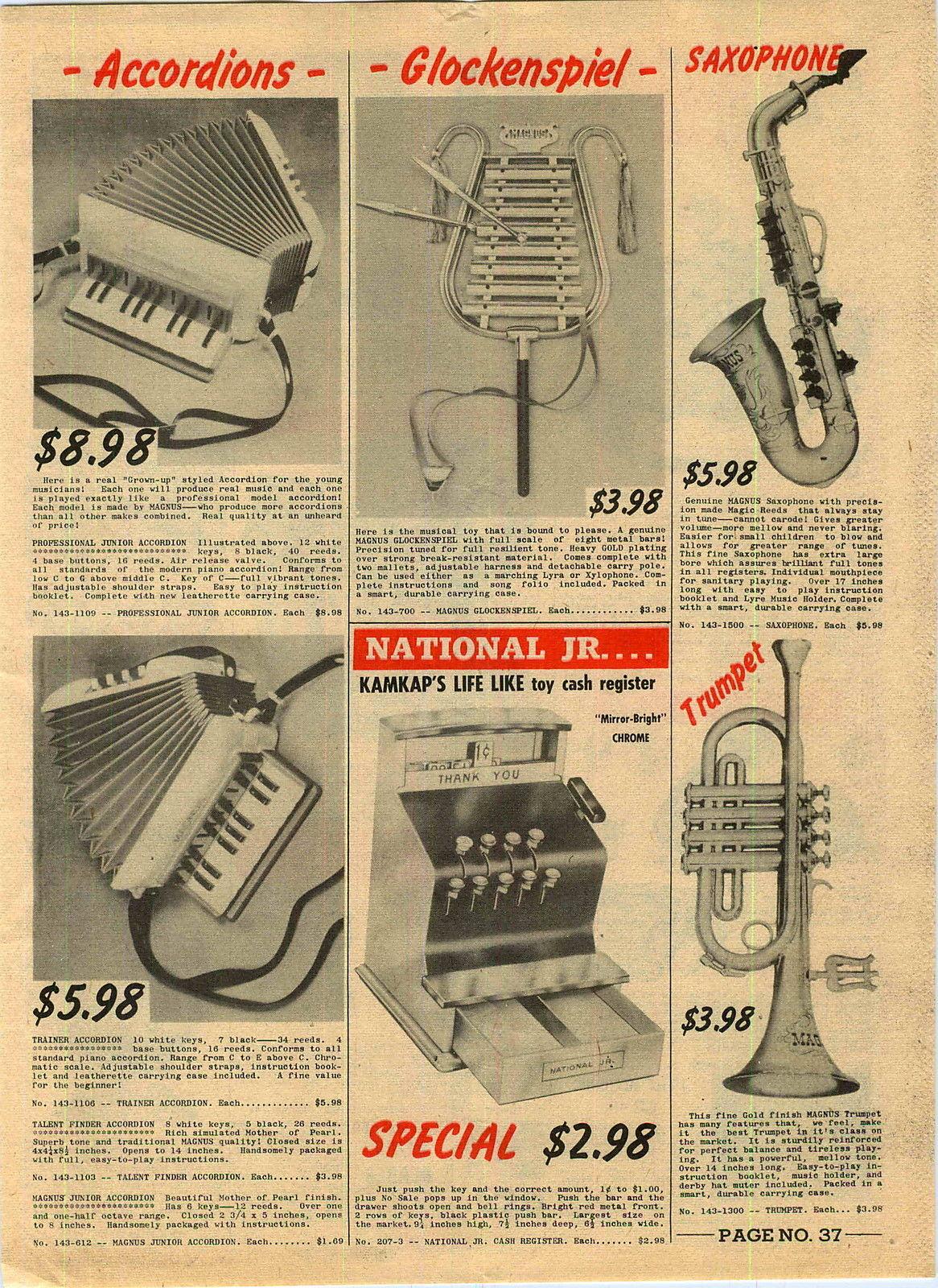 vintage ad, 1957, Magnus toy saxophone, vintage catalogue page