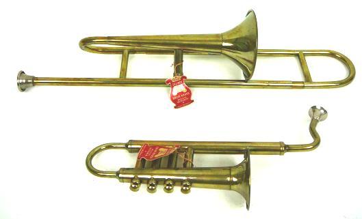 Delinot, 4 valve toy saxophone, toy trombone, brass, French, vintage toys,