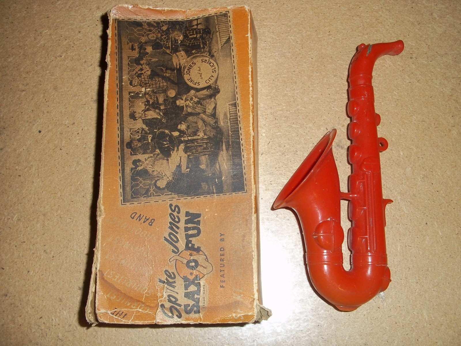 Sax-o-Fun, Spike Jones toy sax, vintage saxophone-shaped toy