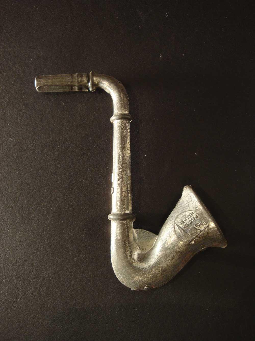 saxophone-shaped, 1940 New York World's Fair, souvenir, collectible, metal