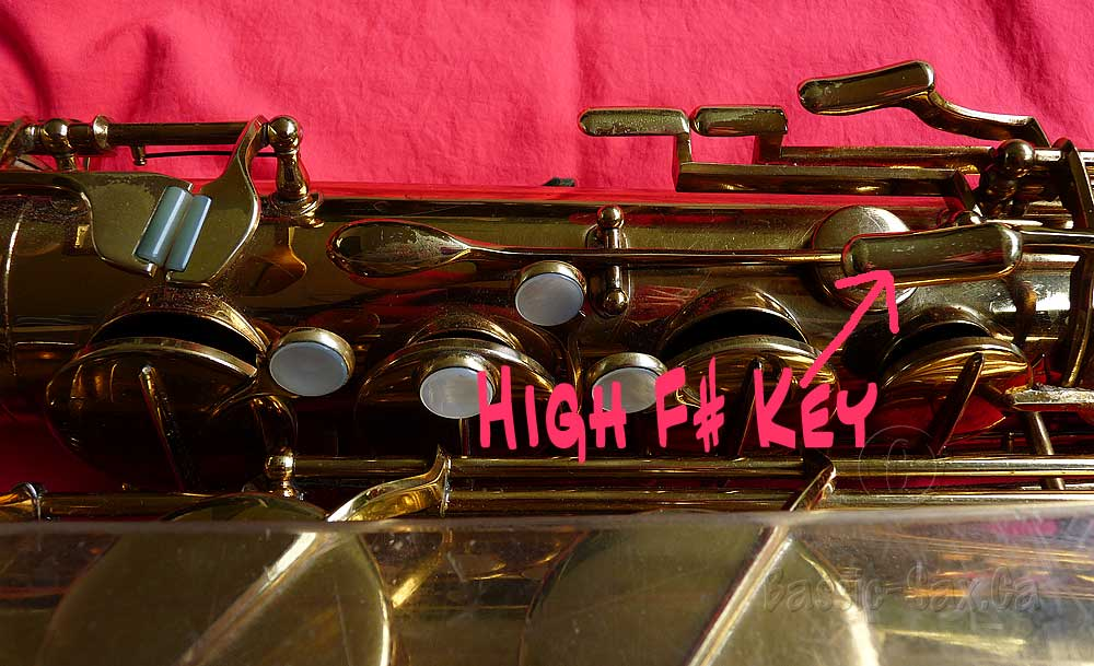 Location of high F# key on Julius Keilwerth Toneking tenor saxophone, Jubilee tenor, stencil saxophone
