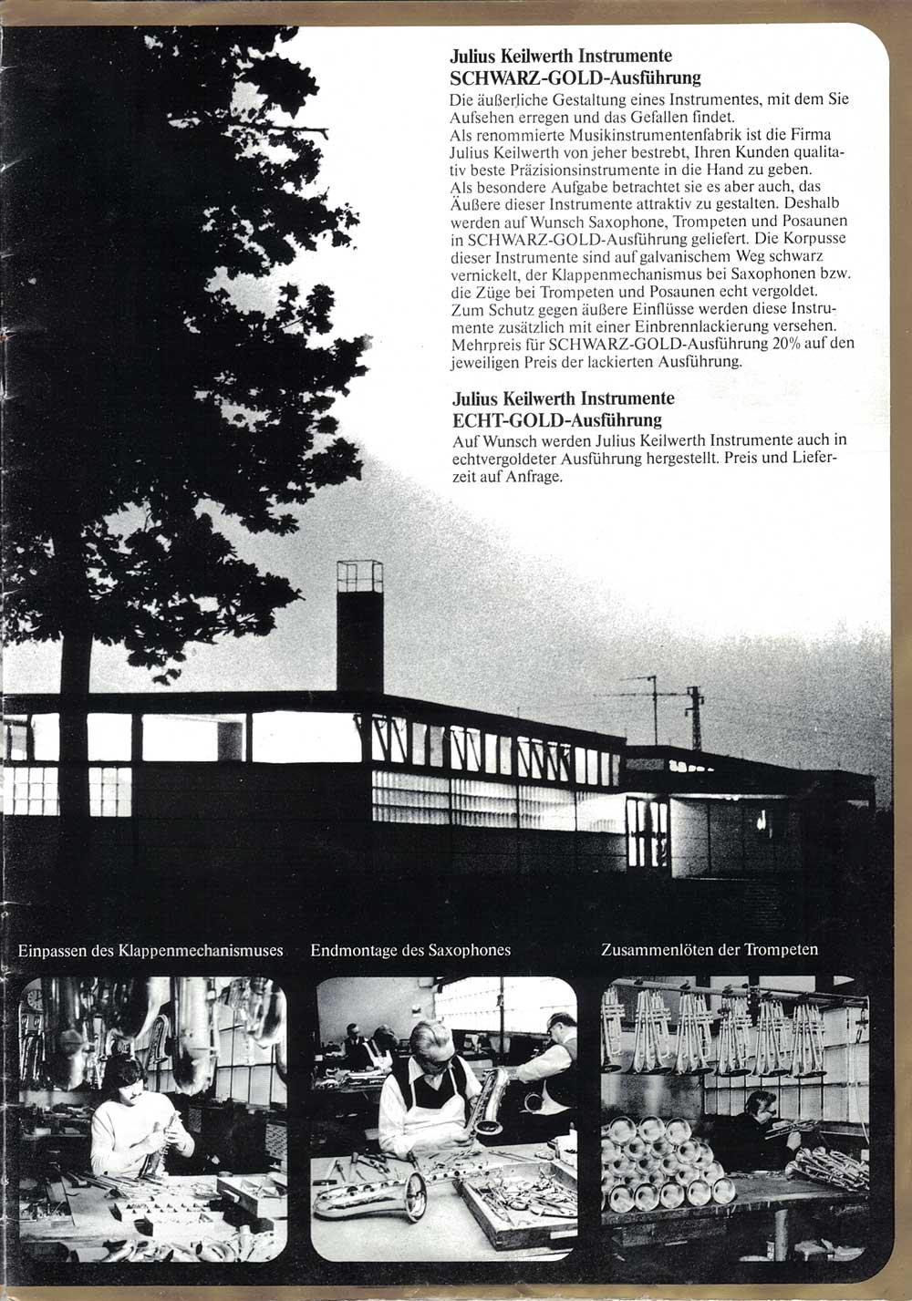 Julius Keilwerth, saxophones, vintage, German, 1979, brochure, page 2, b&W photography