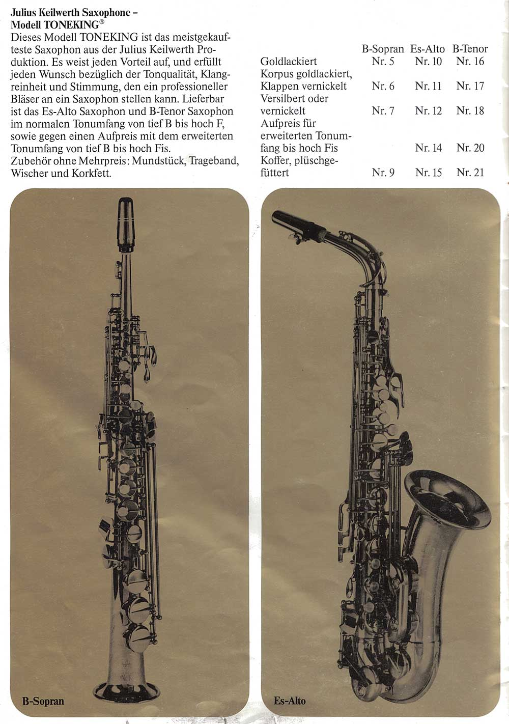 Julius Keilwerth, vintage, German, alto, soprano, saxophone, brochure, 1979, page 5, gold, black