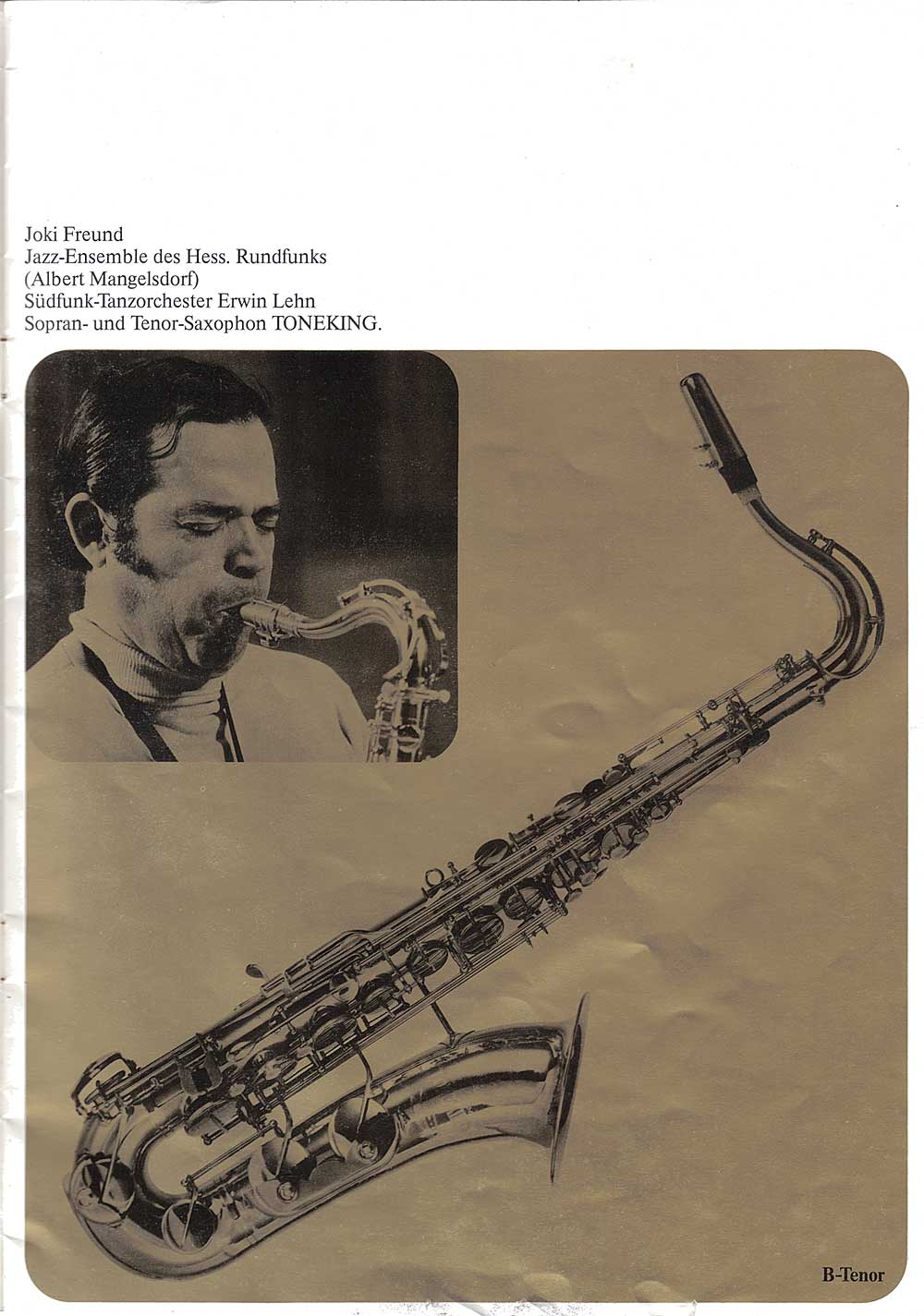 Julius Keilwerth, vintage, German, tenor, saxophone, brochure, 1979, page 6, gold, black