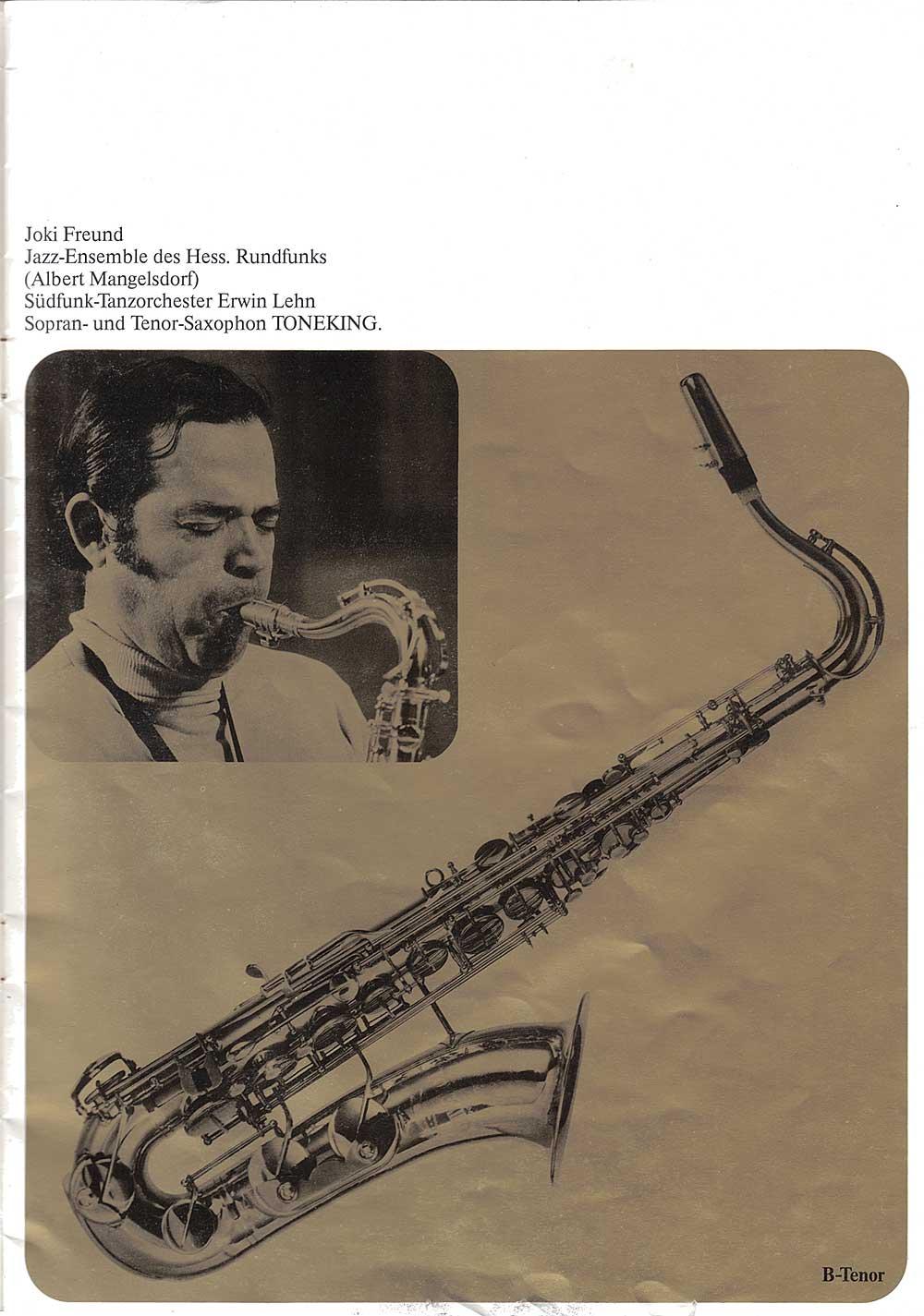 Julius Keilwerth, vintage, German, tenor, saxophone, brochure, 1979, page 6, gold, black