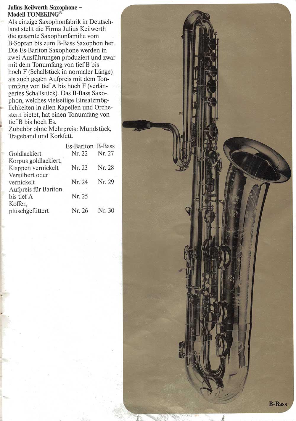 Julius Keilwerth, vintage, brochure, 1979, page 8,  bass, saxophone, black, gold