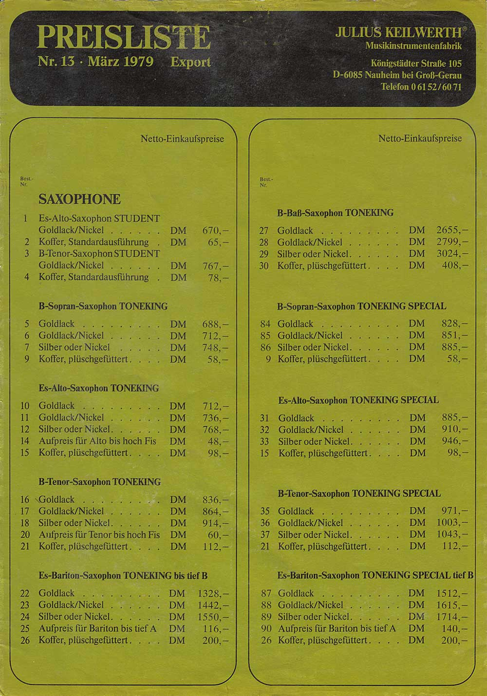 Julius Keilwerth, saxophones, sax price list, 1979, vintage, German