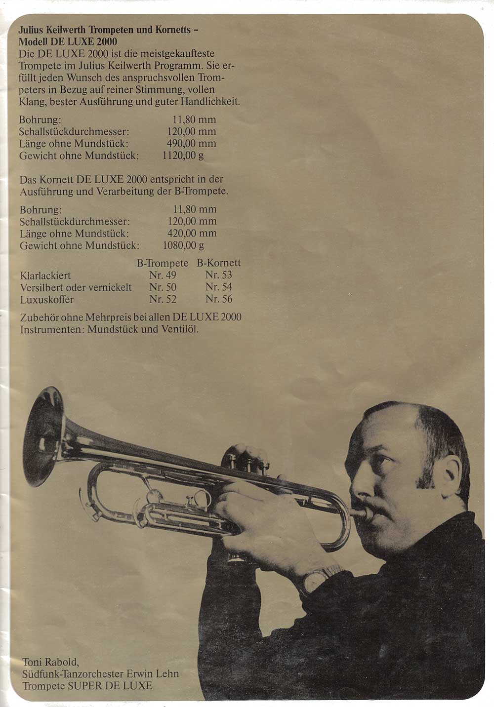 Julius Keilwerth, vintage, catalogue, 1979, page 16, trumpet, trumpet player, black, gold