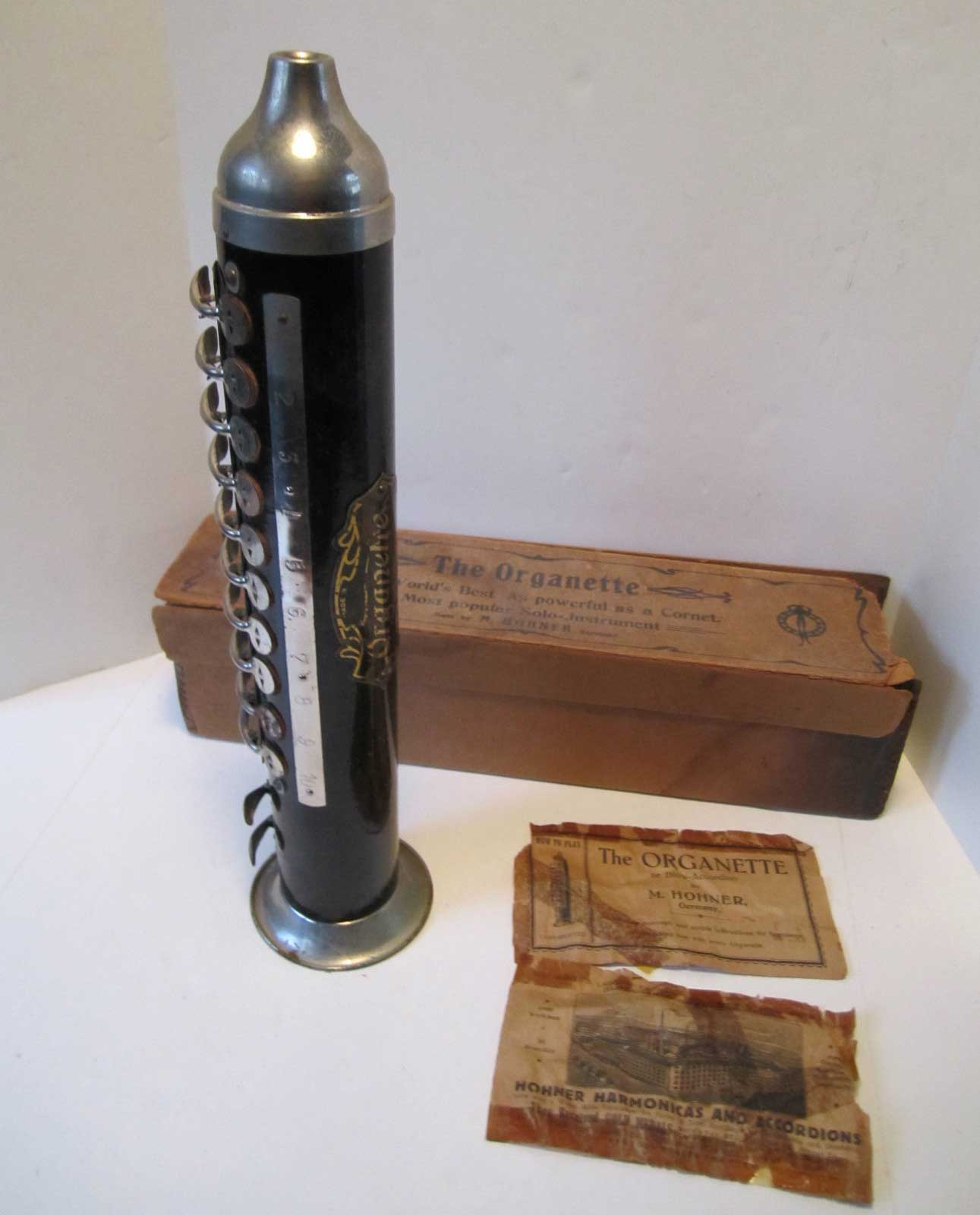 Organette, Hohner, blow accordion, vintage, German, original box, original information sheet