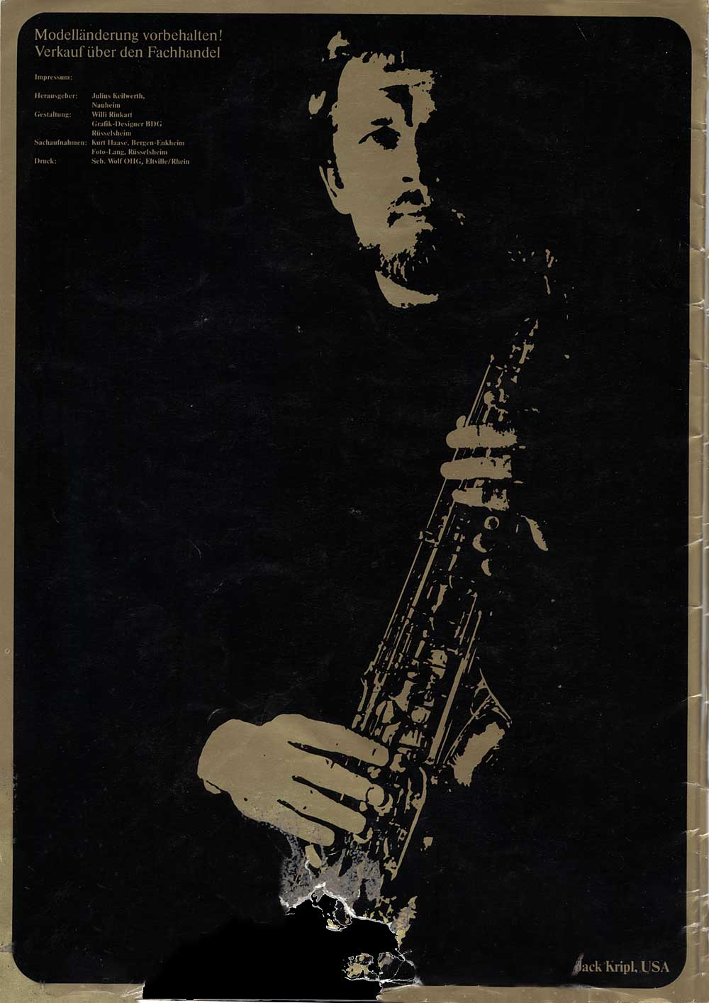 Julius Keilwerth, vintage catalogue, 1979, back cover, black, gold, saxophone player