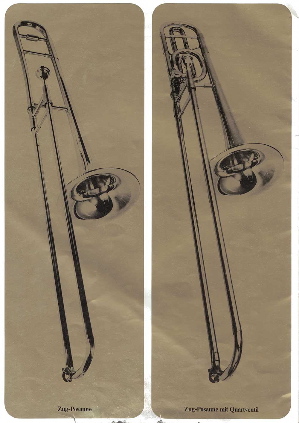Julius Keilwerth, vintage catalogue, 1979, page 19, black, gold, trombones