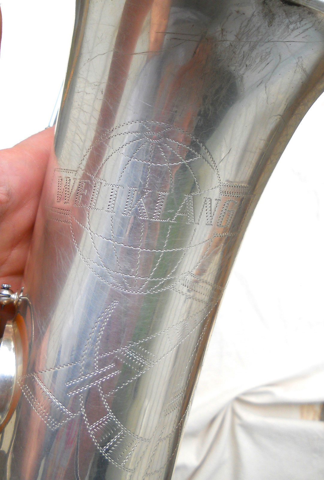 Weltklang, saxophone, bell engraving, German saxophone, DDR, vintage sax