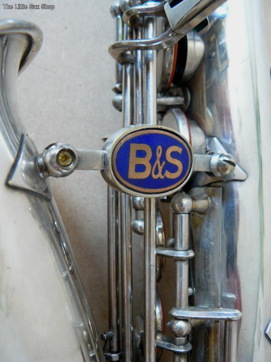 "VEB Blechblas- und Signal-Instrumenten-Fabrik, B&S, alto saxophone, ""blue label"", bell to body support brace, East German, vintage sax, DDR,"