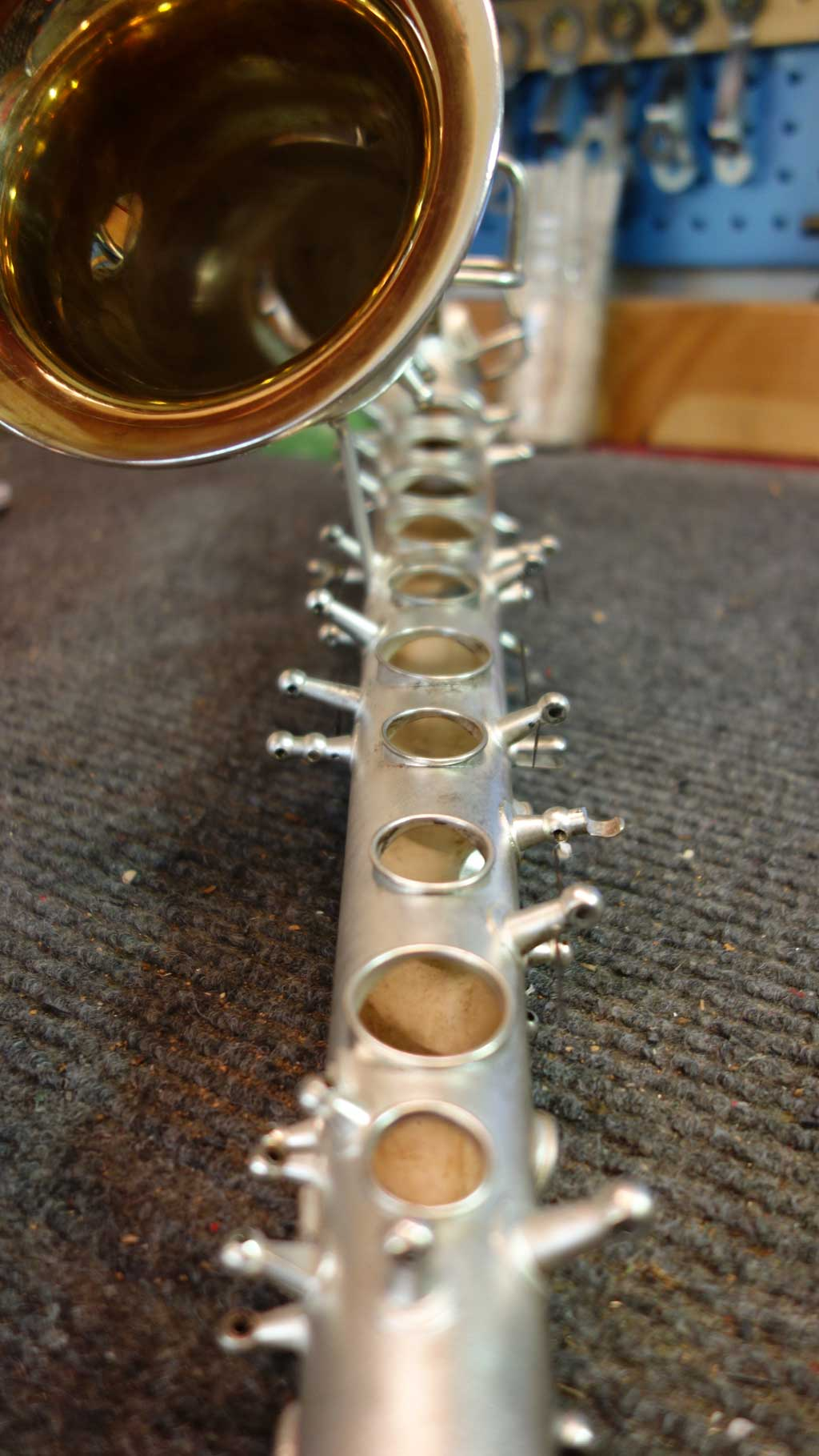 saxophone tone holes, Conn, C melody, New Wonder, Naked Lady, silver plated, gold wash bell