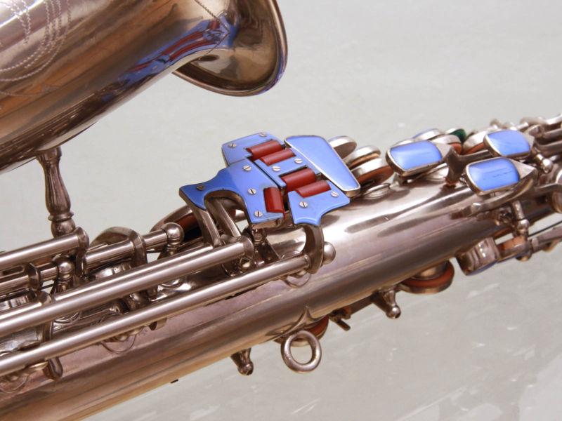 alto saxophone, Akustik, East German saxophone, vintage, silver plated, blue glass key touches