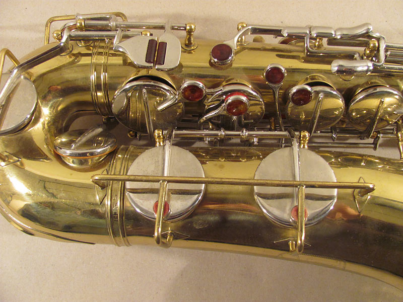 tenor  saxophone, Weltklang, orange coloured key touches, vintage German sax, East German saxophone
