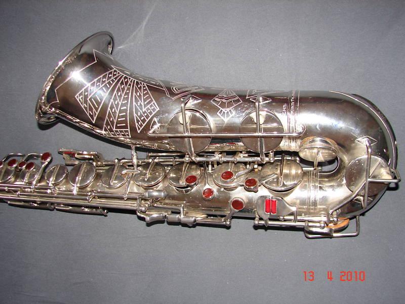 tenor saxophone, Akustik, East German, vintage, orange glass key touches, silver plated