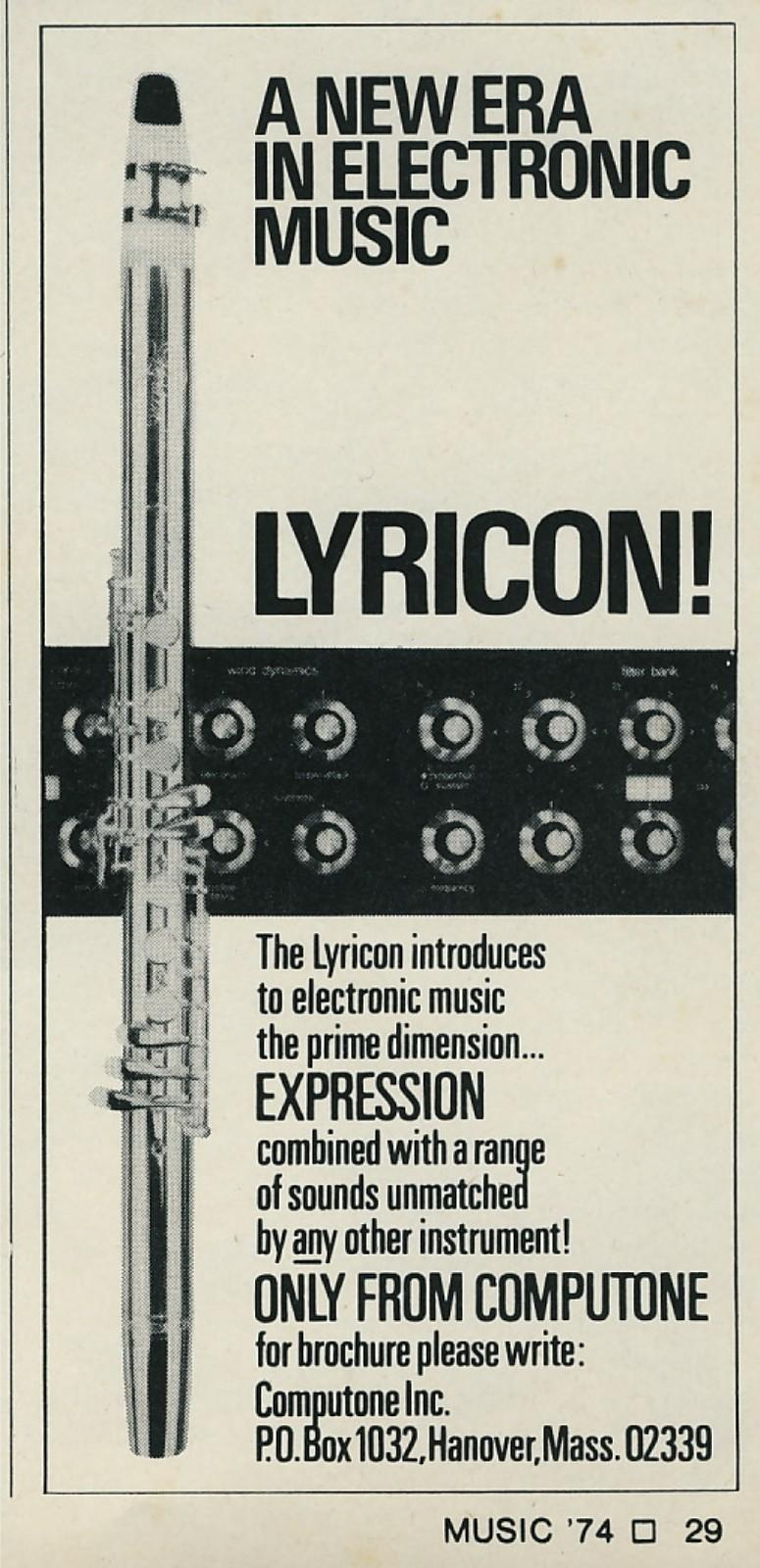 Lyricon I, wind controller, wind synth, wind synthesizer, vintage ad, 1974, Computone
