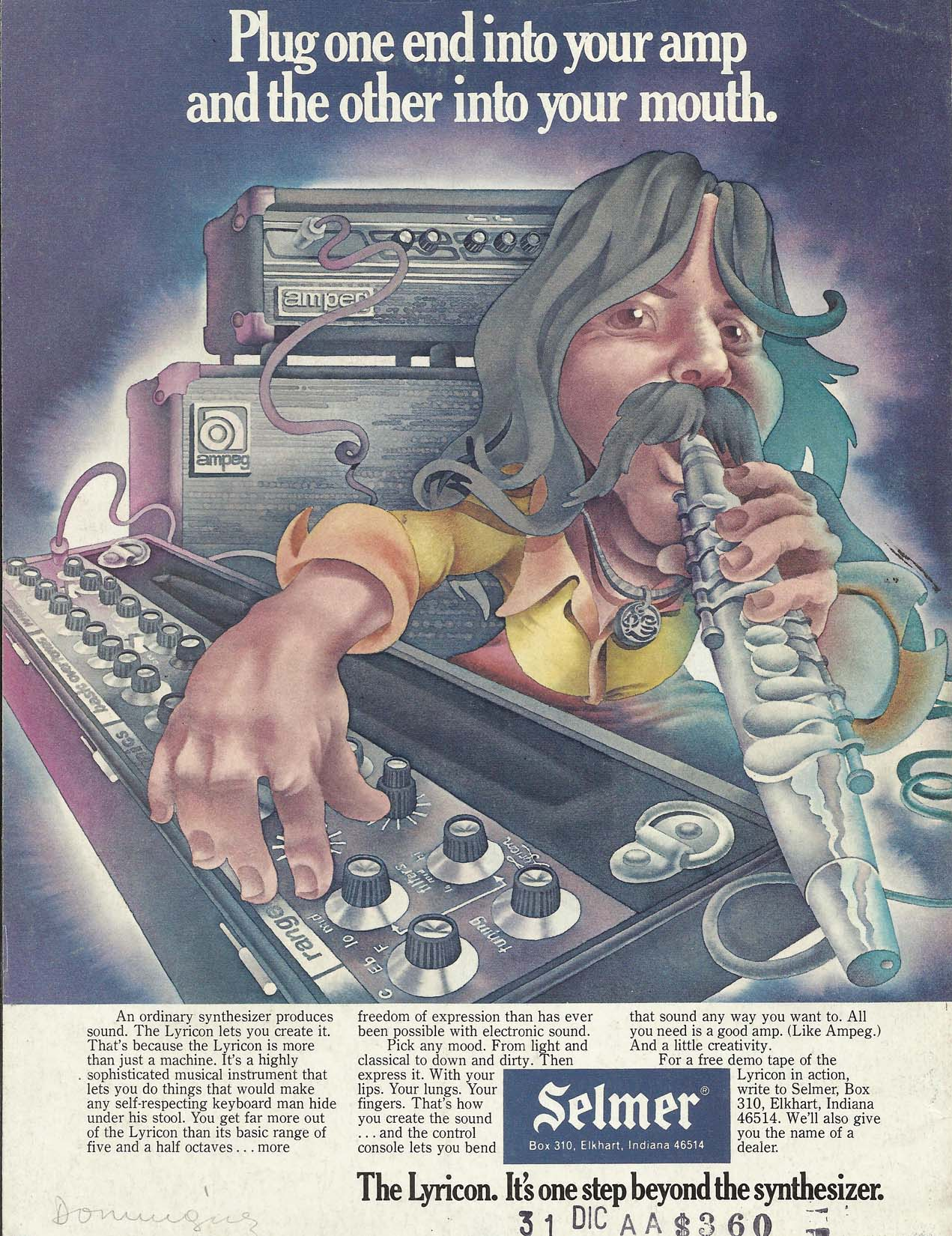 Lyricon II, wind controller, wind synth, wind synthesizer, vintage ad, 1975, Selmer
