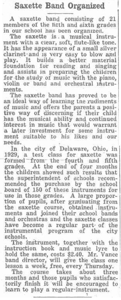 archived newspaper article, School Chatter section of The Herald-Mail, Fairport, NY, March 28, 1935, Saxette Band Organized