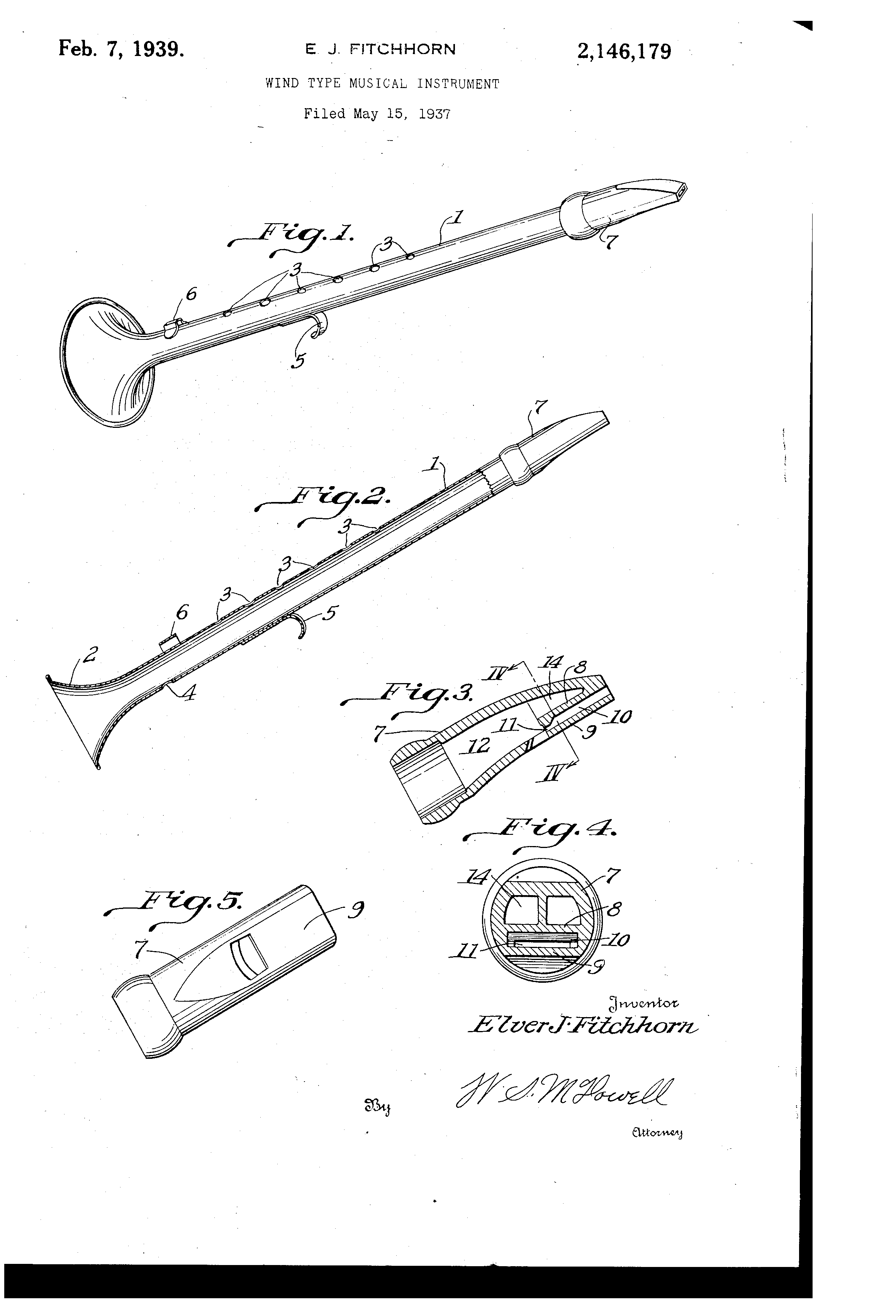 Saxette Patent Image, Feb 7, 1939, patent number 2,146,179, E.J. Fitchhorn