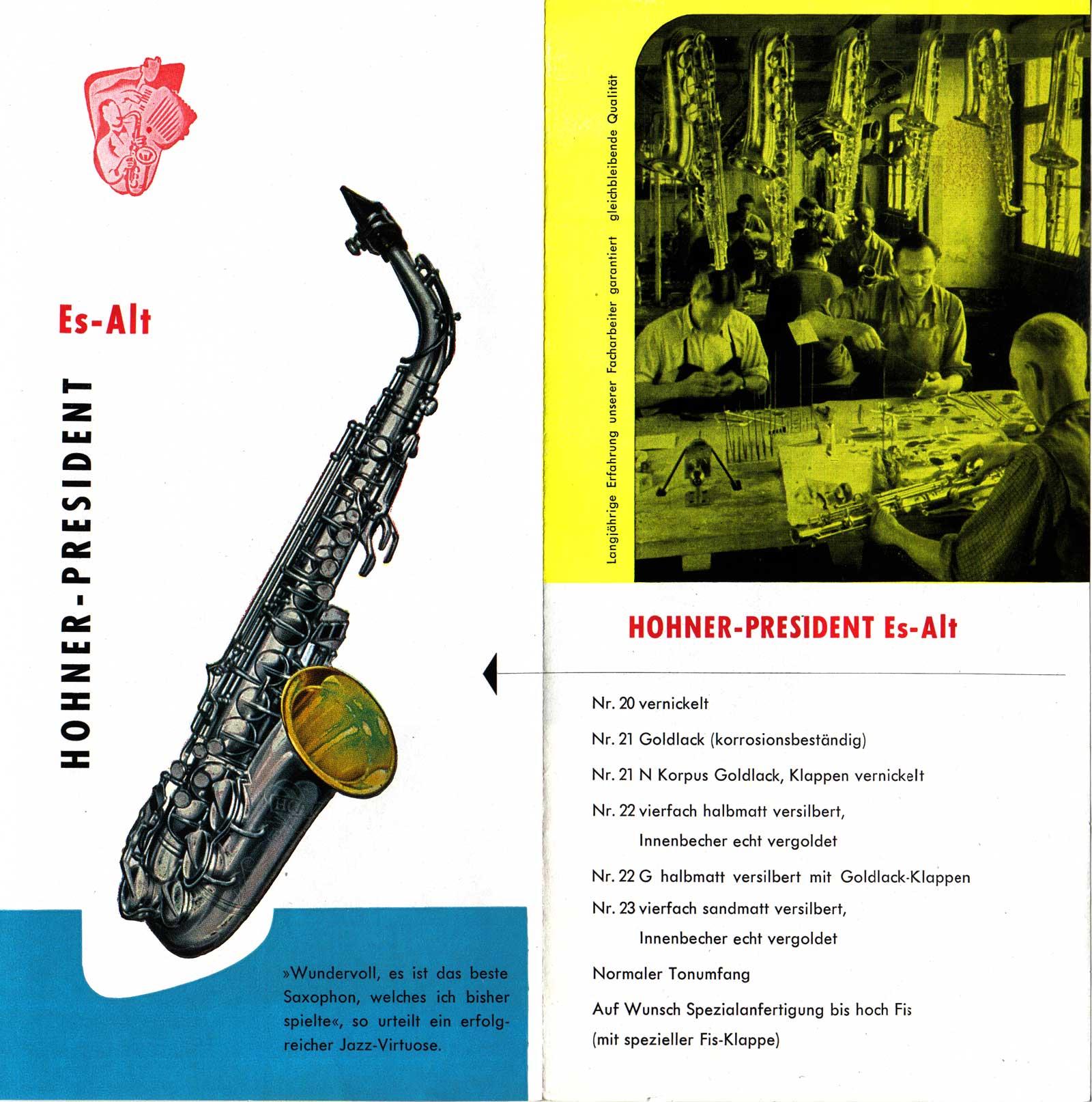 President alto saxophone, vintage brochure, 1958, German, vintage saxophone, Hohner President