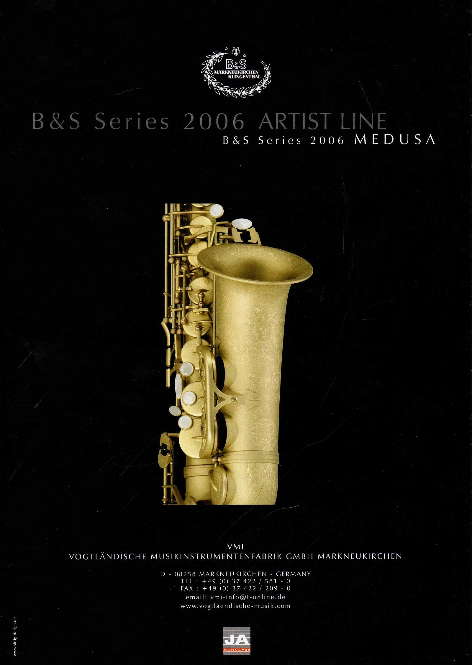 VMI, B&S Medusa saxophone, Series 2006 Medusa & Artist lines, saxophone brochure, German saxophone