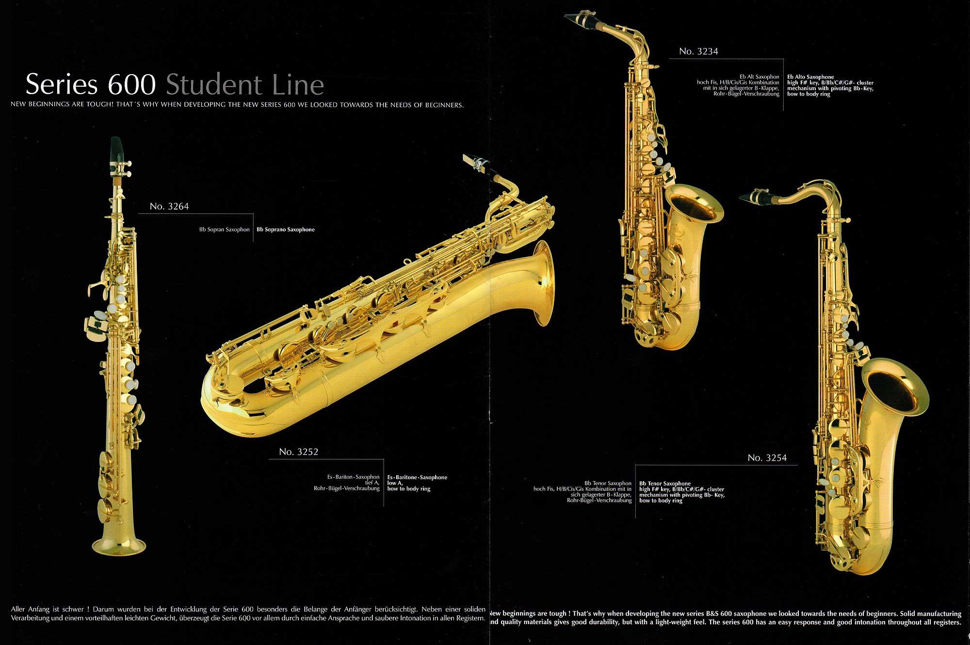 B&S saxophone, dealer prospectus, brochure, saxophone brochure Series 600 B&S saxophones, VMI